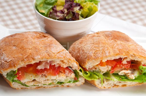 Панини сэндвич куриные томатный итальянский продовольствие Сток-фото © keko64