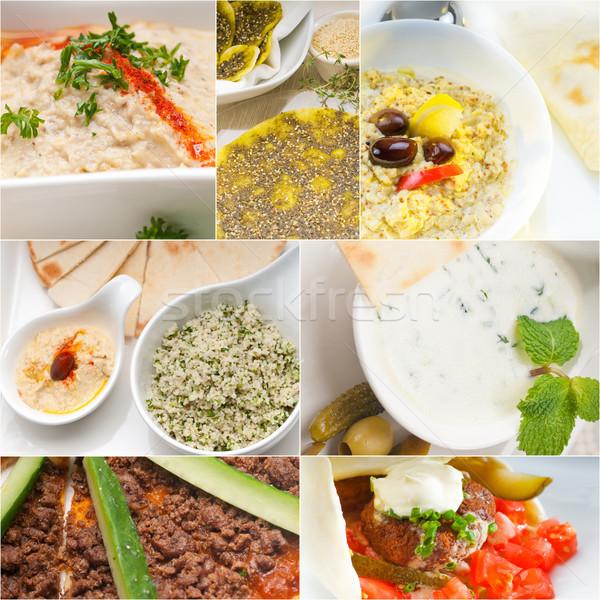árabes alimentos collage colección blanco Foto stock © keko64