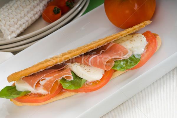 Panini caprese jambon sandviç taze gıda Stok fotoğraf © keko64