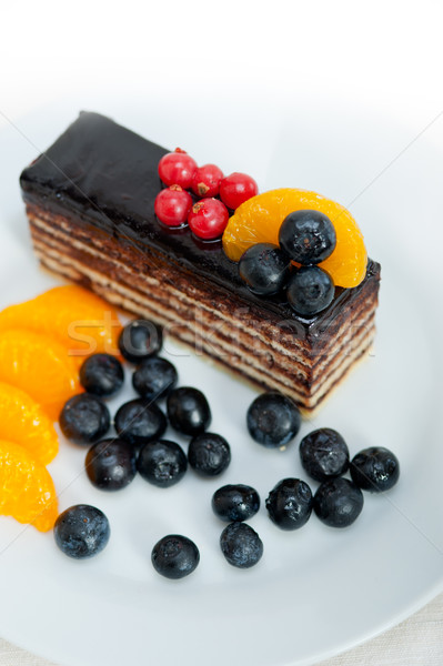 Chocolade fruitcake vers fruit top Stockfoto © keko64