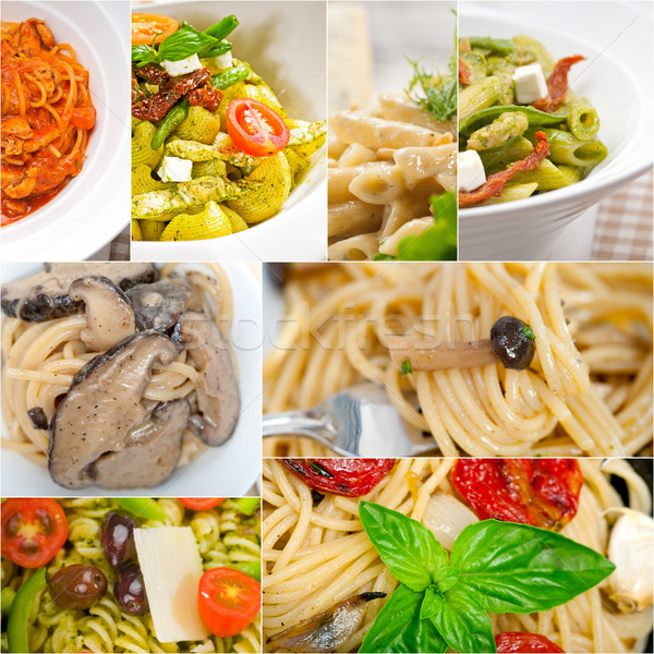 Stock photo: collection of different type of Italian pasta collage