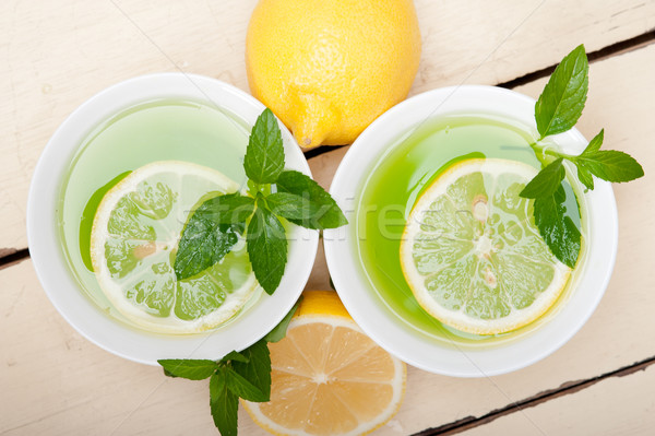 mint infusion tea tisane with lemon Stock photo © keko64