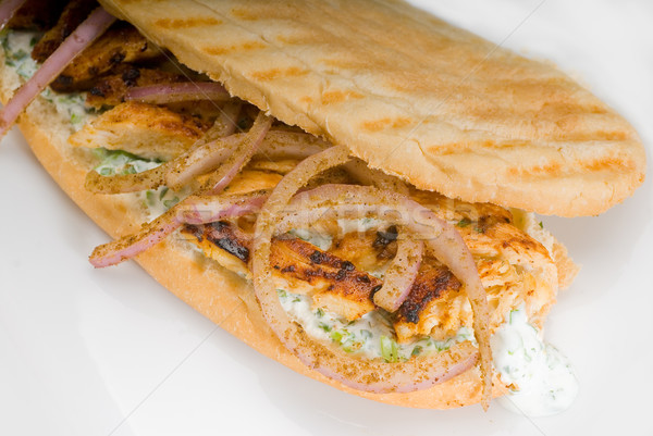 chicken and onion grilled panini sandwich Stock photo © keko64