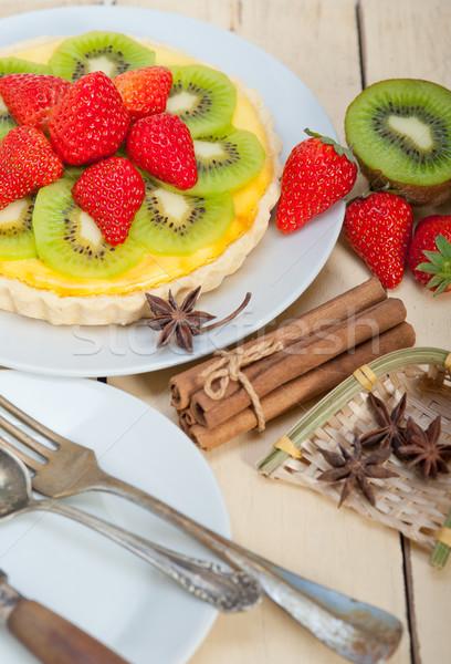 kiwi and strawberry pie tart  Stock photo © keko64
