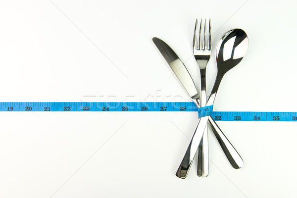 Dieta tenedor cuchillo cuchara azul Foto stock © kenishirotie