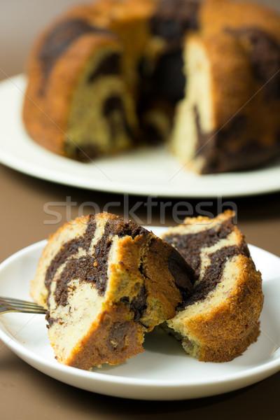 Foto d'archivio: Banana · cioccolato · torta · fatto · in · casa · pronto · piatto