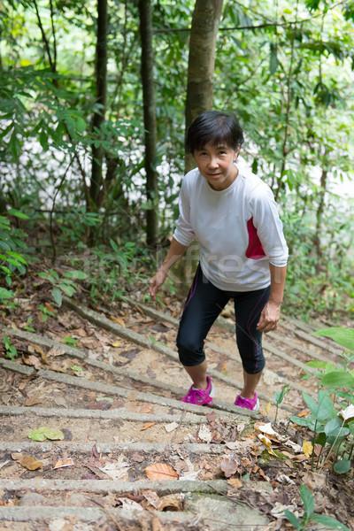 Asia mujer senderismo selva altos selva tropical Foto stock © kenishirotie