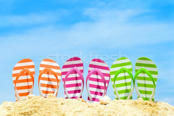 Stock fotó: Nyár · tengerpart · csetepaté · papucs · kék · ég · nap