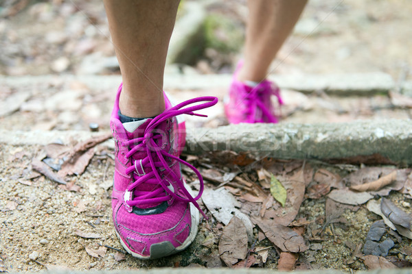 Hiking shoes on trail walking in moutains Stock photo © kenishirotie