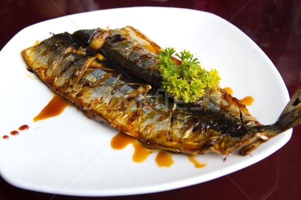 Alla griglia pesce japanese stile bianco piatto Foto d'archivio © kenishirotie