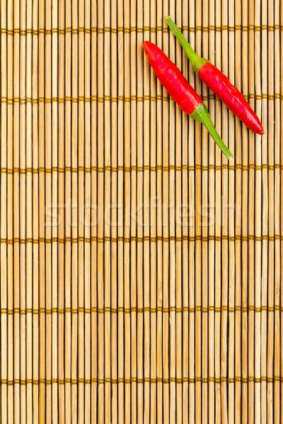 Rojo chile bambú dos esquina Foto stock © kenishirotie