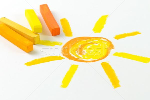 Pétrolières pastel colorie dessin enfant soleil Photo stock © kenishirotie