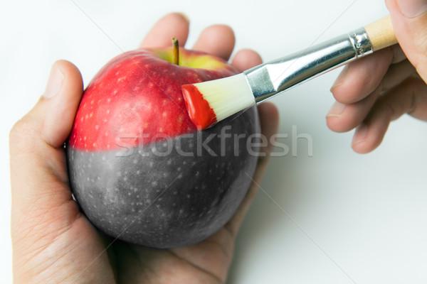 Schilderij realiteit vers rode appel penseel voedsel Stockfoto © kenishirotie