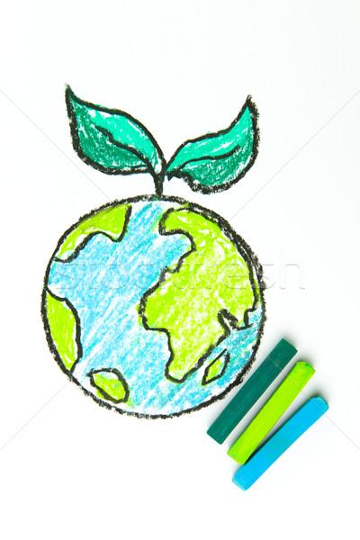 Pensar verde mundo hojas verdes dibujo petróleo Foto stock © kenishirotie