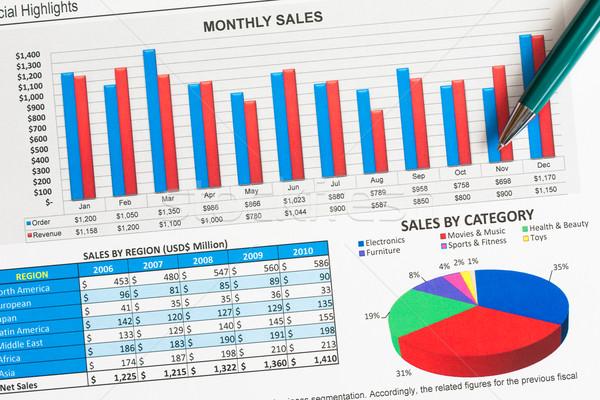 Gráficos colorido ventas pluma papel Foto stock © kenishirotie