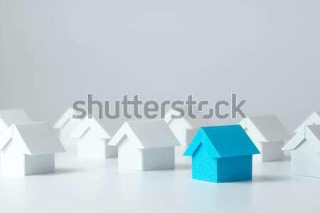 Ház kivágás papír kék közelkép modell Stock fotó © kenishirotie