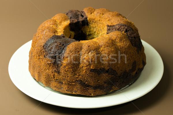 Banaan chocolade cake eigengemaakt klaar ring Stockfoto © kenishirotie