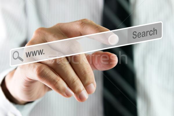 стороны поиск виртуальный экране бизнесмен указывая Сток-фото © kenishirotie