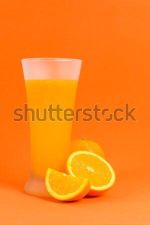 Succo d'arancia vetro arance frutta sfondo arancione Foto d'archivio © kenishirotie
