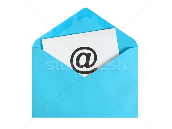 электронная почта бумаги лист икона синий конверт Сток-фото © kenishirotie