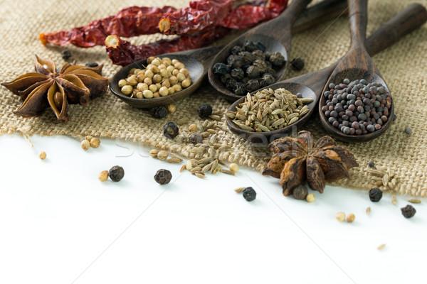 Especias diferente cocina alimentos negro Foto stock © kenishirotie