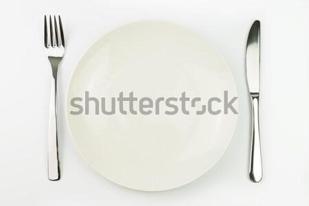 Vacío placa tenedor cuchillo blanco cena Foto stock © kenishirotie