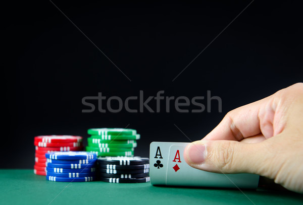 Photo stock: Casino · table · paire · main