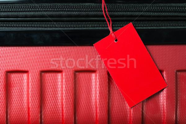 Vuota viaggio bagaglio etichetta rosso colore Foto d'archivio © kenishirotie