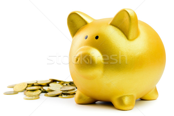 Stock photo: Piggy bank and coins