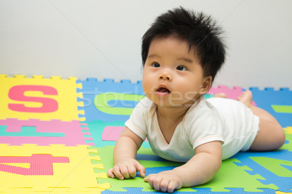 Photo stock: Peu · bébé · étage · portrait · asian