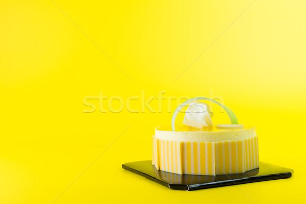 манго торт изолированный желтый продовольствие рождения Сток-фото © kenishirotie