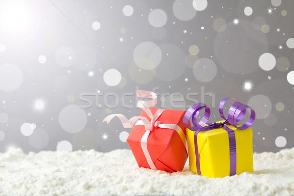 Navidad vacaciones cajas de regalo nieve fiesta luz Foto stock © kenishirotie