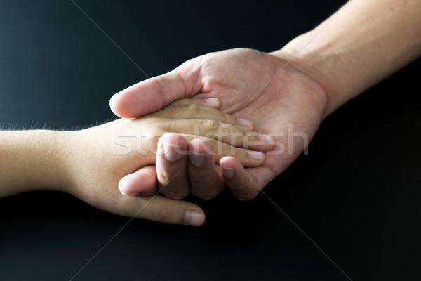 Stock fotó: Apa · kéz · közelkép · fekete · szeretet · gyermek