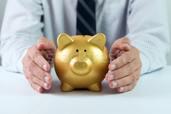 Geld besparing handen gouden spaarvarken Stockfoto © kenishirotie