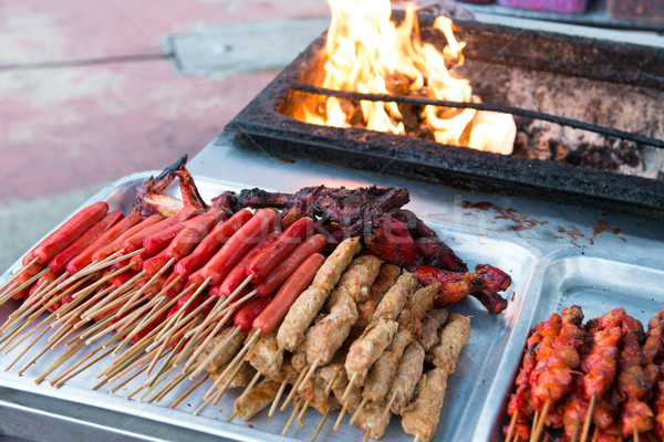 Asian barbecue voedsel variëteit stijl stick Stockfoto © kenishirotie