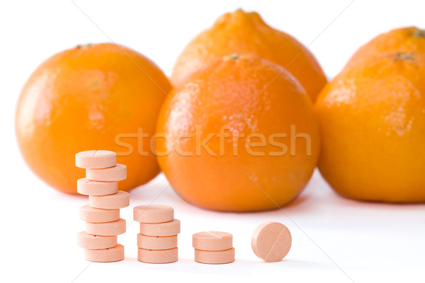 Vitamine c pilules orange médicaux fruits médecine Photo stock © kenishirotie