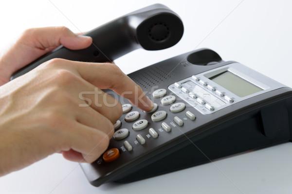 Telefono uomo business telefono home Foto d'archivio © kenishirotie