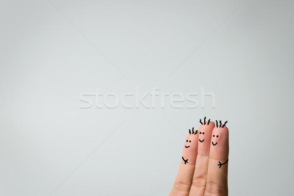 счастливым пальцы три обнять серый семьи Сток-фото © kenishirotie