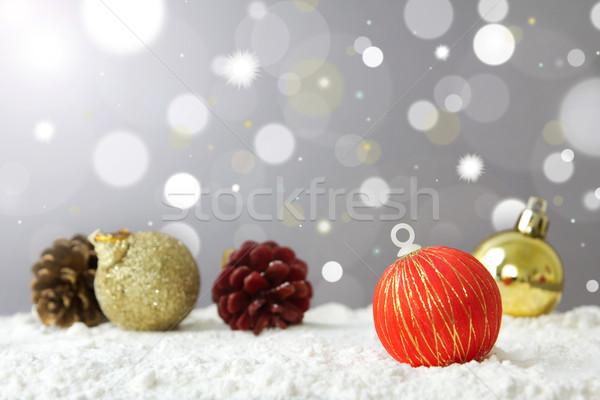веселый Рождества украшение мяча снега фары Сток-фото © kenishirotie