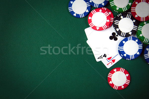 Foto d'archivio: Blackjack · carte · da · gioco · casino · poker · chips · mano · club