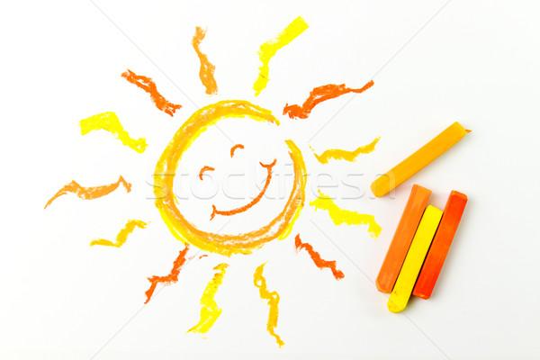 Drawing of sun Stock photo © kenishirotie