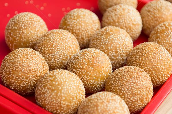 Szezám labda Kína finom étel csomagolás Stock fotó © kenishirotie