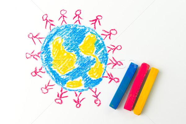глобализация ребенка рисунок люди Постоянный мира Сток-фото © kenishirotie