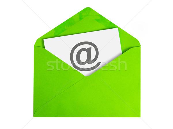 электронная почта бумаги лист икона зеленый конверт Сток-фото © kenishirotie