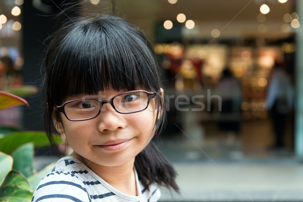 Cute asian chinois fille verres parc Photo stock © kenishirotie