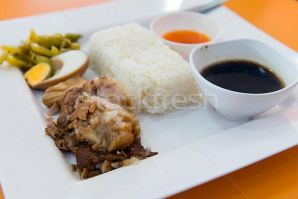 Híres thai disznóhús láb rizs főtt tojás Stock fotó © kenishirotie