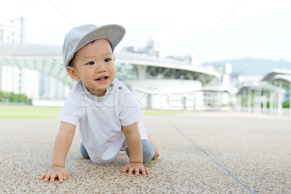 Asian baby boy crawling in park Stock photo © kenishirotie