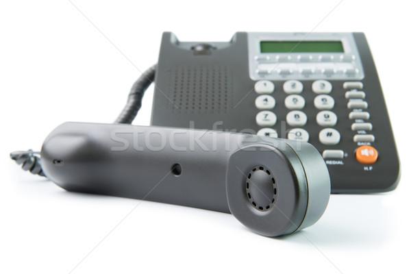 Teléfono moderna gris color escritorio aislado Foto stock © kenishirotie
