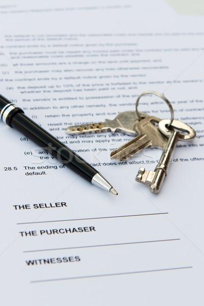 Onroerend contract pen sleutels business home Stockfoto © kenishirotie