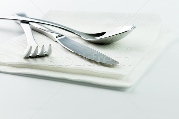 вилка ножом ложку нержавеющая сталь бумаги салфетку Сток-фото © kenishirotie